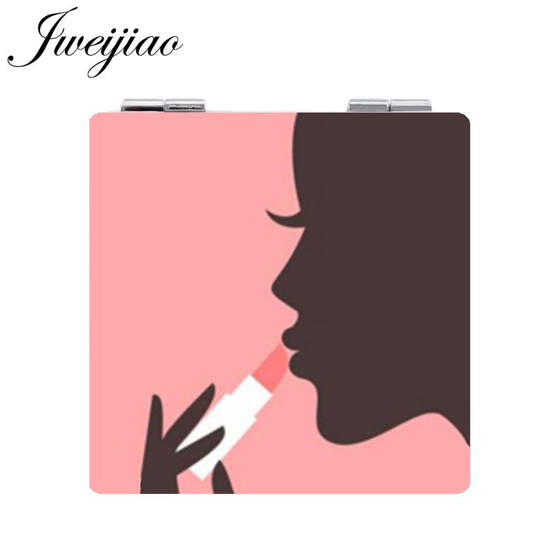 JWEIJIAO Portable Double Sides Pocket Make Up Mirror Square PU leather pocket mirror Cosmetic Makeup Mini Beauty MA54