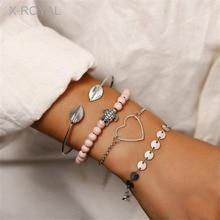 X-ROYAL 4Pcs/set Women Fashion Bracelets Classic Heart Turtle Charm Round Tag Link Chain Sets Leaf Silver Open Bangles