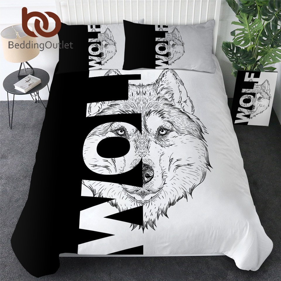 BeddingOutlet Wolf Duvet Cover Set Letters Cool Bedding Set Black White Modern Comforter Cover Animal Lion Cobra Bedspreads 3pcs