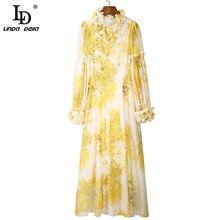 LD LINDA DELLA – robe d'été à manches longues pour femme, vêtement ample et élégant, imprimé Floral jaune, nouvelle collection 2021