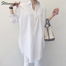 Streamgirl Women's Tunic White Shirt Oversize Woman Loose Long Sleeve Boyfriend Korean Clothes Women Office Blouse Shirt White