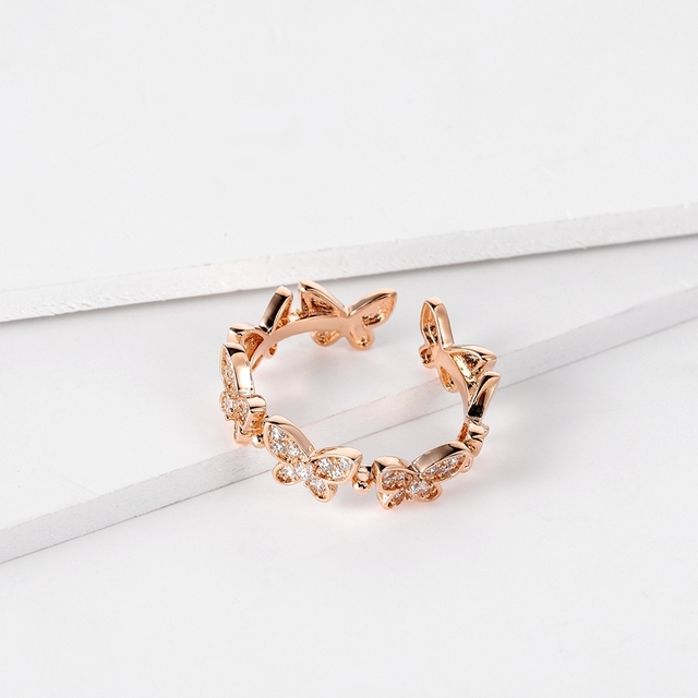 SIPENGJEL Fashion Dancing Moving Temperament Butterfly Rings Dainty Insect Open Adjustable Rings For Women Jewlery 2021 4