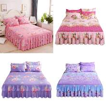 3 IN 1 Floral Fitted Bedding Set Sheet Cover Graceful Bedspread Skirt Skin Friendly Cotton Quilt Cover Bedding Supplies(China)