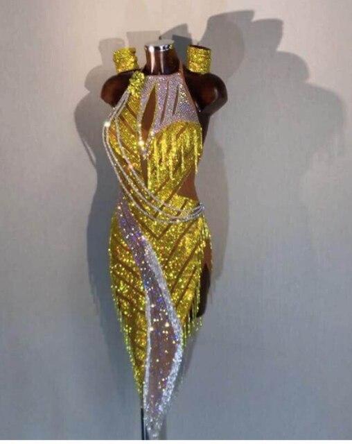 ריקוד לטיני שמלה חדש שמלת תחרות ריקוד לטיני, סלסה, לטיני שמלת תלבושות לימון הואנג Shuijing לטיני שמלה