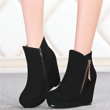 2020 Women Black Shoes Cow Suede Leather High Heel Ankle Boots Platform Wedges Party Pumps Punk Goth Trainers Lady Casual Shoes aiykazysdl women ankle boots faux leather suede motorcycle biker bootie punk buckle platform block ultra very high heel shoes