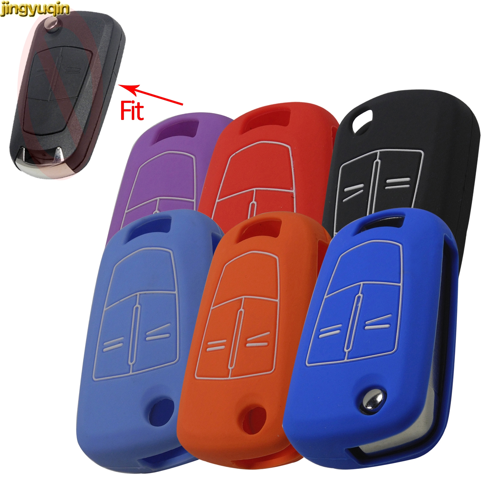 Jingyuqin Remote Silicone Car Key Case Cover Protector For Vauxhall Opel H Insignia J Vectra C Corsa D Zafira G Astra Signum