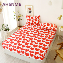 AHSNME Designs Bed Sheets Geometric Printed Fitted Sheet With Elastic cotton blend Polyester Mattress Cover jogo de cama