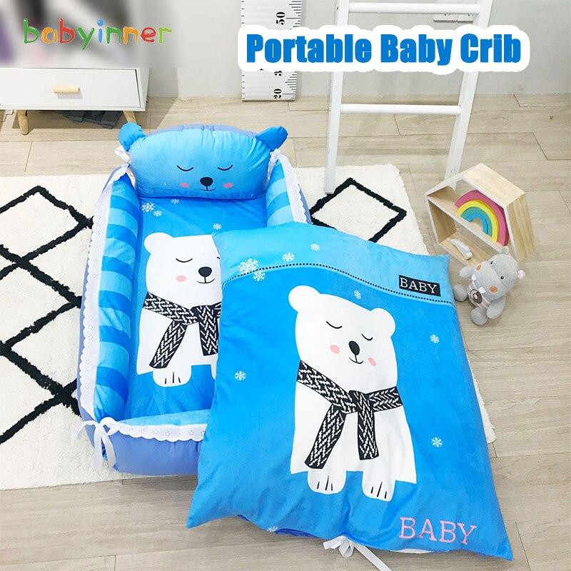 Babyinner Portable Baby Crib Cartoon Infant Nest Cradle Folding Newborn Travel Bed In Bed Cotton Cot Bassinet Room Decor