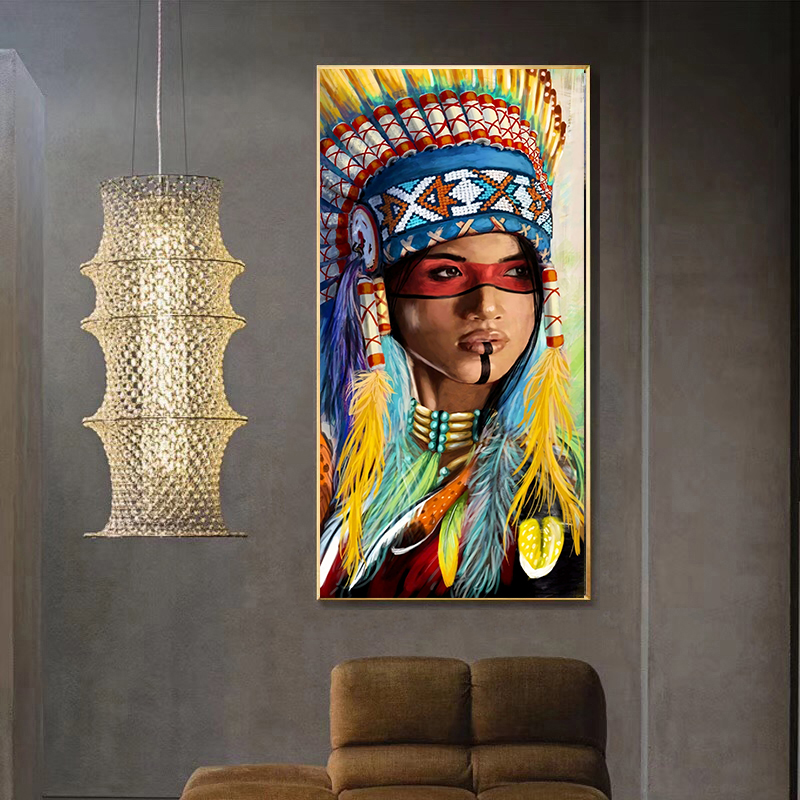 Watercolor Abstract Native Indian Portrait Canvas Painting Posters and Prints Scandinavian Wall Art Picture for Living Room(China)