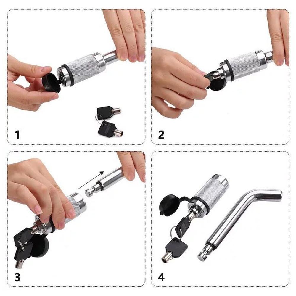 Silver Car Back Trailer Locking Hitch Pin 5/8'' with Double Keys Rubber Cap Waterproof Lock Kit for Trailer Trailer Coupler Lock