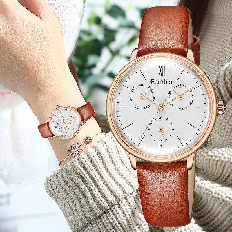 Fantor Luxury Brand Watches Women Chronograph Waterproof Watch Woman Elegant Leather Wrist Watches Relogio Feminino