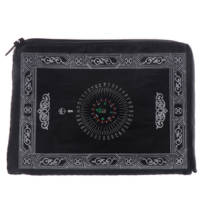 Image 3 - New Style Muslim Prayer Rug Polyester Portable Braided Mats Simply Print with Compass In Pouch Travel Home Mat Blanket 100*60cm