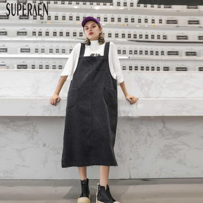 SuperAen/джинсовое платье на бретельках для женщин; сезон осень; новое свободное платье без рукавов большого размера; Женская Повседневная модная одежда в европейском стиле