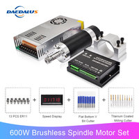 600W CNC Spindle ER11 Brushless DC Motor 55MM Clamp Bracket Switching Power Supply Stepper Motor Driver 13pcs ER11 Collet Chuck