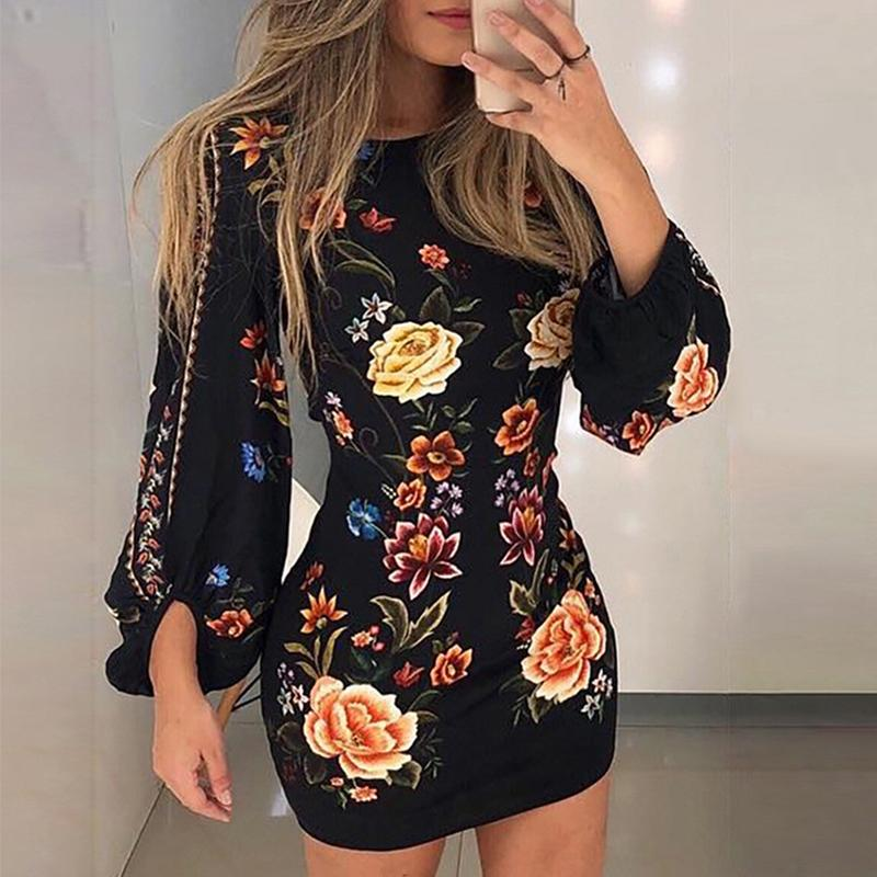 Aartiee O Neck Floral Print Bodycon Mini Dress Elegant Lantern Long Sleeve Women's Dresses Autumn Winter Large Size Vestidos New