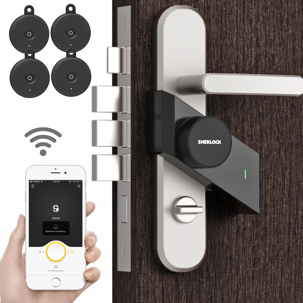 4 Key With Sherlock S2 Smart Door Lock Home Keyless Lock Finger Work With The Mechanics Lock Smart Wireless App Phone Control