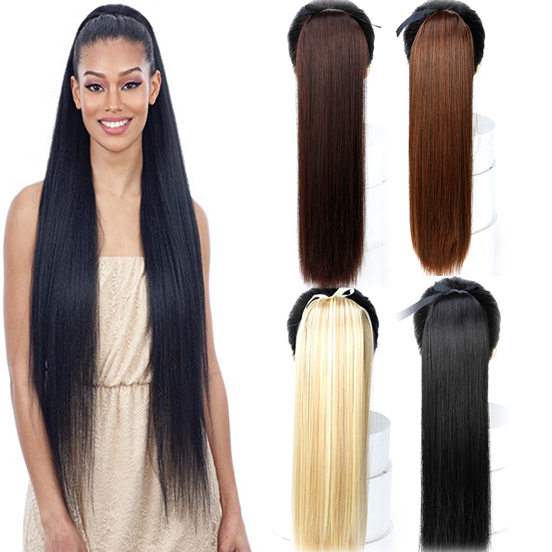 LUPU Hair Ponytail 85CM Super Long Straight Drawstring False Hairpiece Synthetic Clip In Hair Extensions High Temperature Fiber