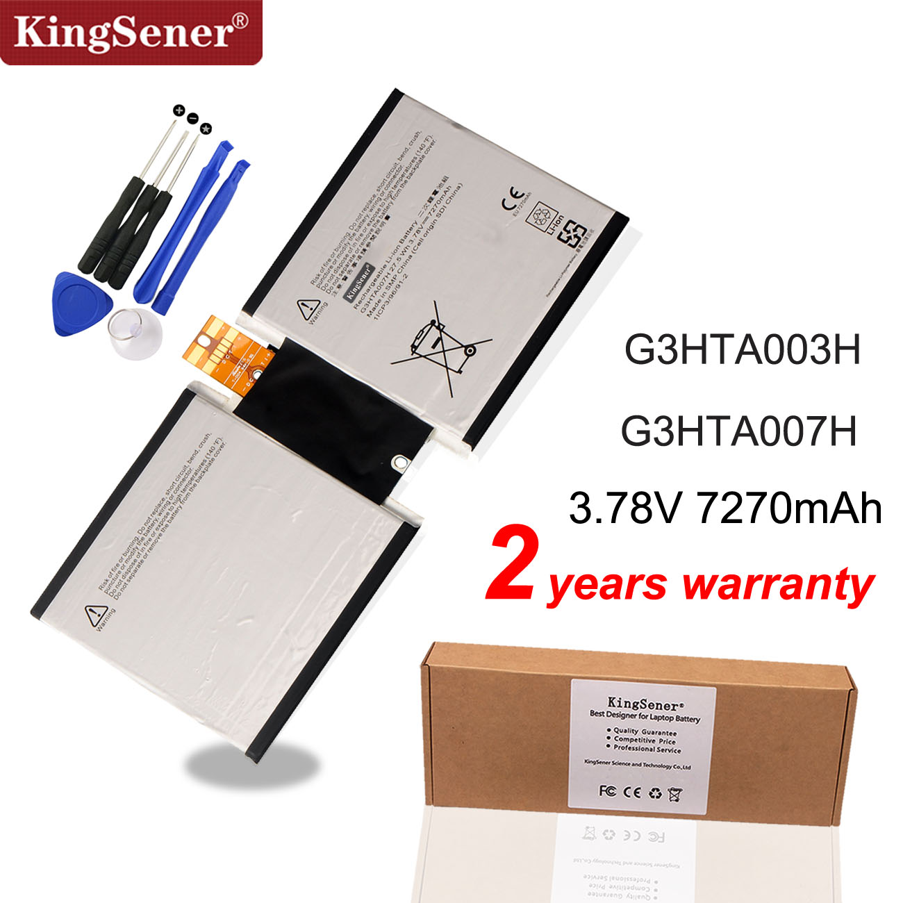 KingSener G3HTA003H G3HTA007H  Laptop Battery For Microsoft Surface Pro 3 1645 Series Tablet PC G3HTA004H 27.5WH/7270mAh
