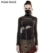 Женские футболки в стиле стимпанк с высоким воротником и принтом маски, тянущиеся трикотажные черные топы из эластичной сетчатой ткани в стиле панк рок, готические футболки