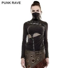 PUNK RAVE Steampunk yüksek yaka maske kadın t shirt streç örgü dikiş elastik örgü kumaş siyah üstleri Punk Rock tee gotik