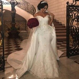 Image 2 - Luxury Mermaid Wedding Dresses With Detachable Train 2020 Off Shoulder Lace Appliques Vestido De Novia Modest Stain Bridal Gowns
