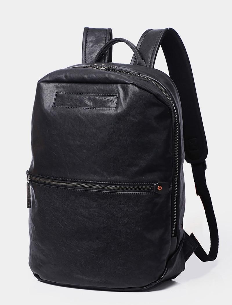 Aetoo masculino mochila de couro, moda computador