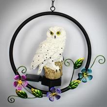 Owl Solar Light With Solar LED Panel Fake Owl Circle Flower Hanging Lamp Waterproof IP65 Outdoor Courtyard Path Yard Garden Lamp