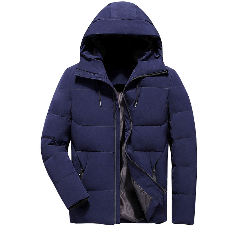 Casual Winter Jacket Men Hooded Solid Black Mens Parka Coat Slim Fit Thick Cotton Mens Parka Jacket Abrigo Hombre Casacos