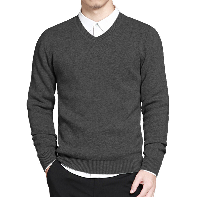 Slim Sweater Pollovers Men Casual Cotton Sweater Jumper Pullover Male Business V-Neck Knitwear Jersey Man Plus Size 4XL Black 05
