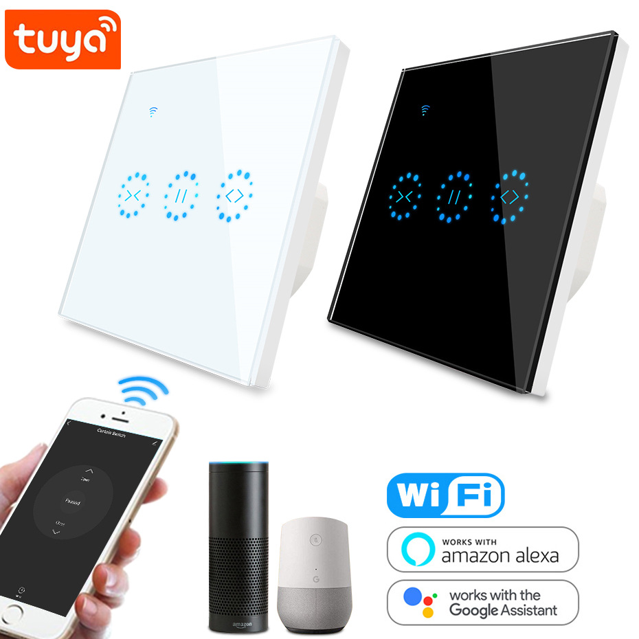 Tuya Smart Curtain Switch WiFi EU US Smart Life Blind Switch For Roller Shutter Electric Motor Google Home Alexa Echo Smart Home