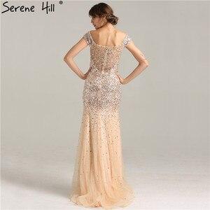 Image 4 - Vestidos de Noche de lujo de Dubái con hombros descubiertos, oro rosa, lentejuelas, Sexy, brillante, estilo sirena Formal, 2020 Serene Hill LA6232