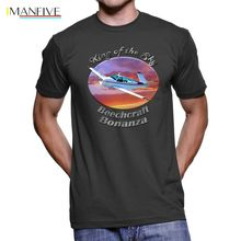 2019 New Summer Fashion Men Tee Shirt Beechcraft V35 Bonanza King Of The Sky Men`s Dark T-Shirt king s the dark tower iv wizard and glass new cover