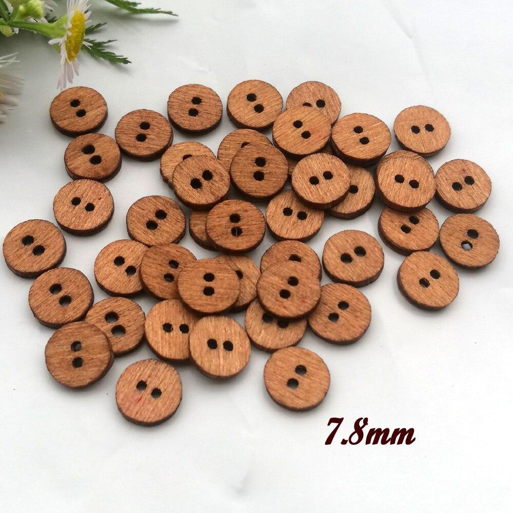 100 шт 7,8 мм Мини деревянные кнопки для цветочного ядра куклы ремесленные аксессуары деревянные декоративные материалы
