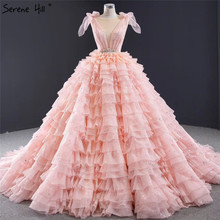 Pink Sleeveless Bow Tiered Sexy Wedding Dresses 2020 Sequined Sparkle Lace Up Bridal Gowns HM67033 Custom Made