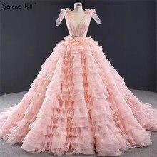 Rosa Ärmellose Bogen Tiered Sexy Hochzeit Kleider 2020 Pailletten Sparkle Lace Up Brautkleider HM67033 Nach Maß