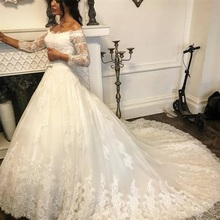 2020 New Robe de mariee Wedding Dress Illusion Long Sleeves Vintage Off the Shoulder Lace Appliques Modest Elegant Custom Gowns