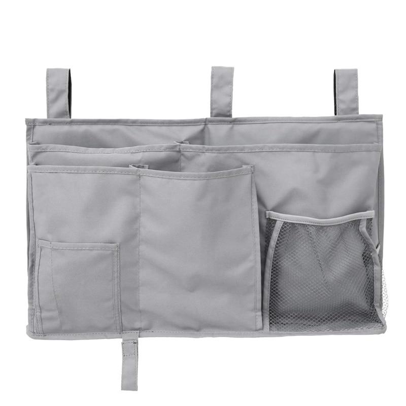 Hanging Organizer Bedside Storage Bag For Bunk And Hospital Beds, Dorm Rooms Bed Rails Gray