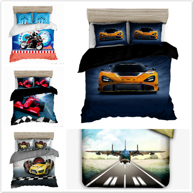 Bedding Set Motorbike Racer, sports car, airplane, SUV European style 2/3pcs soft Duvet Cover Sets Pillowcase