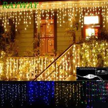 Guirnalda navideña de calle, cortina LED, guirnalda de luces tipo cortina droop 0,4 0,6 M, 5 m, 96 LED para interiores, luz decorativa para escenarios de fiestas, exteriores