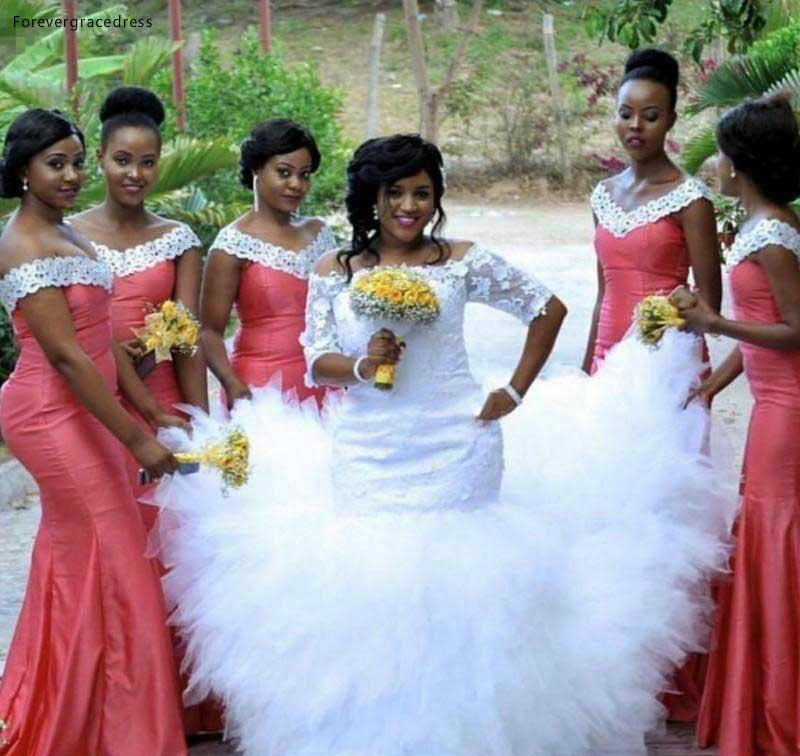 2019 African Nigerian Bridesmaid Dress Water Melon Long Spring Summer Formal Wedding Party Guest Maid of Honor Gown Plus Size