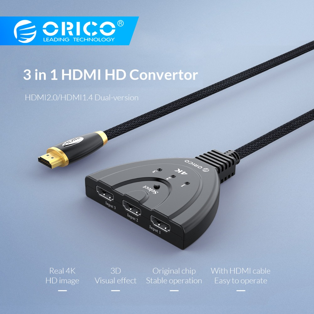 ORICO HDMI Splitter 3 In 1 Out 4K HDMI Switcher With Infrared Remote Control USB 3.0 HDMI For DVD HDTV Xbox PS3/4 Smart STB