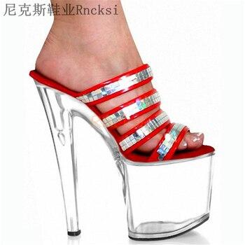 Zapatillas Rncksi de 8 pulgadas, zapatillas de tacón alto, zapatillas sexis para mujer, zapatos de Stripper de cristal para salir, poner lentejuelas en el empeine