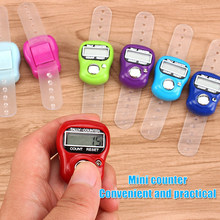 Mini marcador de ponto e linha contador de dedo lcd digital contador de contagem para costura tricô tecer ferramenta dedo contador cor aleatória