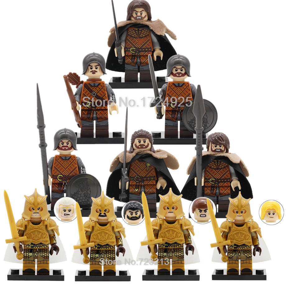 Made using LEGO /& custom parts. Game of Thrones Jon Snow Minifigure with Wolf