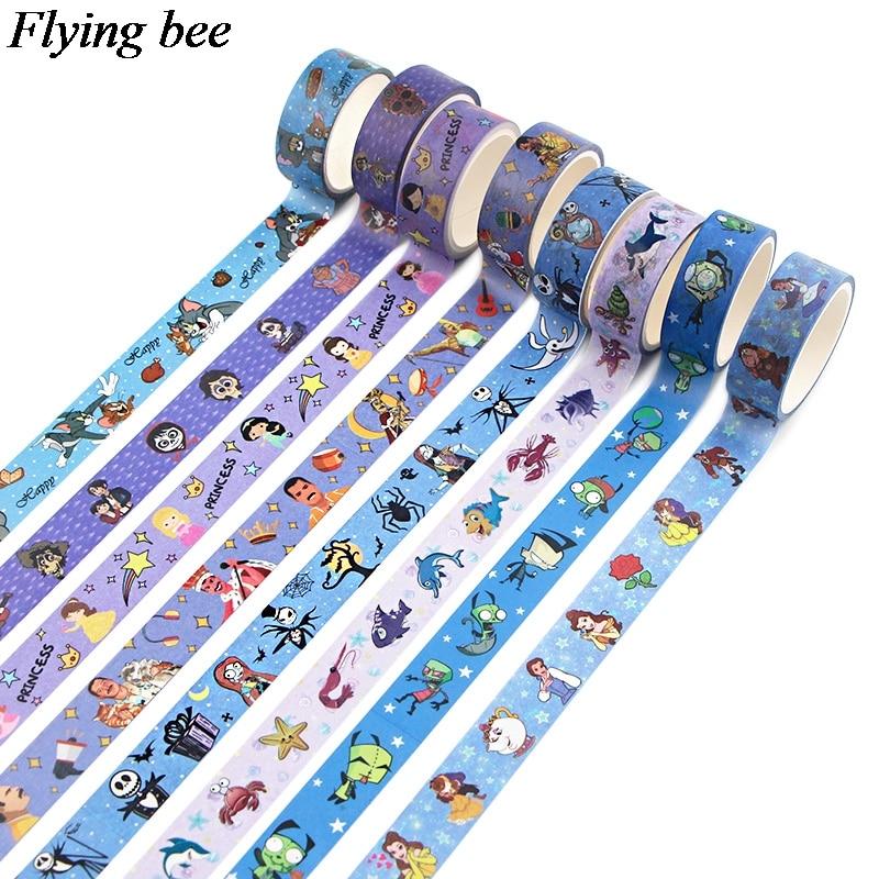 Flyingbee 15mmX5m Unique Masking Washi Tape Diy Scrapbooking Sticker Cartoon Anime Decorative Adhesive Tape X0855