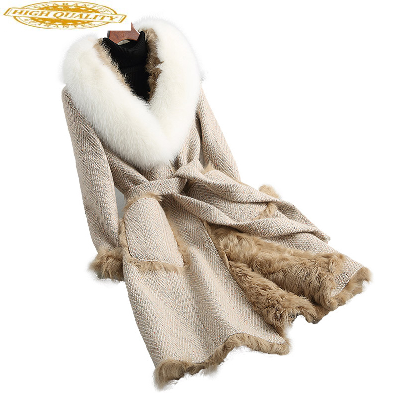 2020 Real Fur Coat Women Real Lamb Fur Liner Long Wool Blend Tweed Winter Jacket Big Natural Fox Fur Collar 18620 YQ1860