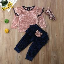 Get more info on the Toddler Infant Newborn Kids Baby Girls Princess clothes Baby Girls Long Sleeve Soft T shirt Tops+Ruffle Pants Outfits Set 9.24