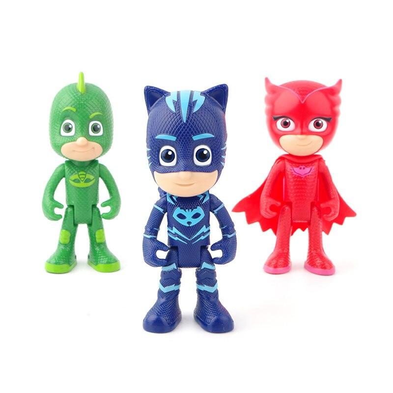 Máscara pj 1 Villa 3 coches 1 estación de gas 3 muñecas modelo Catboy Owlette Gekko figura máscaras conjunto de juegos de juguete para los niños gift2B19 - 6
