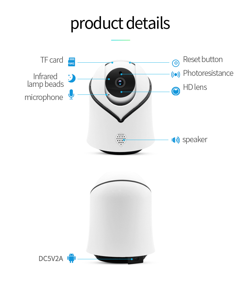 H38443dd8fbe94c52a0c92dc3f6958b69A Cute Y10 PTZ Wireless IP Camera 720/1080P Infrared Night Vision Voice Call Home Security Surveillance WiFi Camera Support 128G
