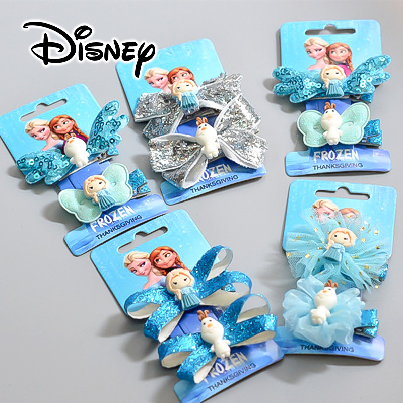 Girls Frozen Hair Accessories Disney Princess Elsa Hair Hairpins Cute Baby Girls Olafn Hair Clips Toddler Birthday Gift Set